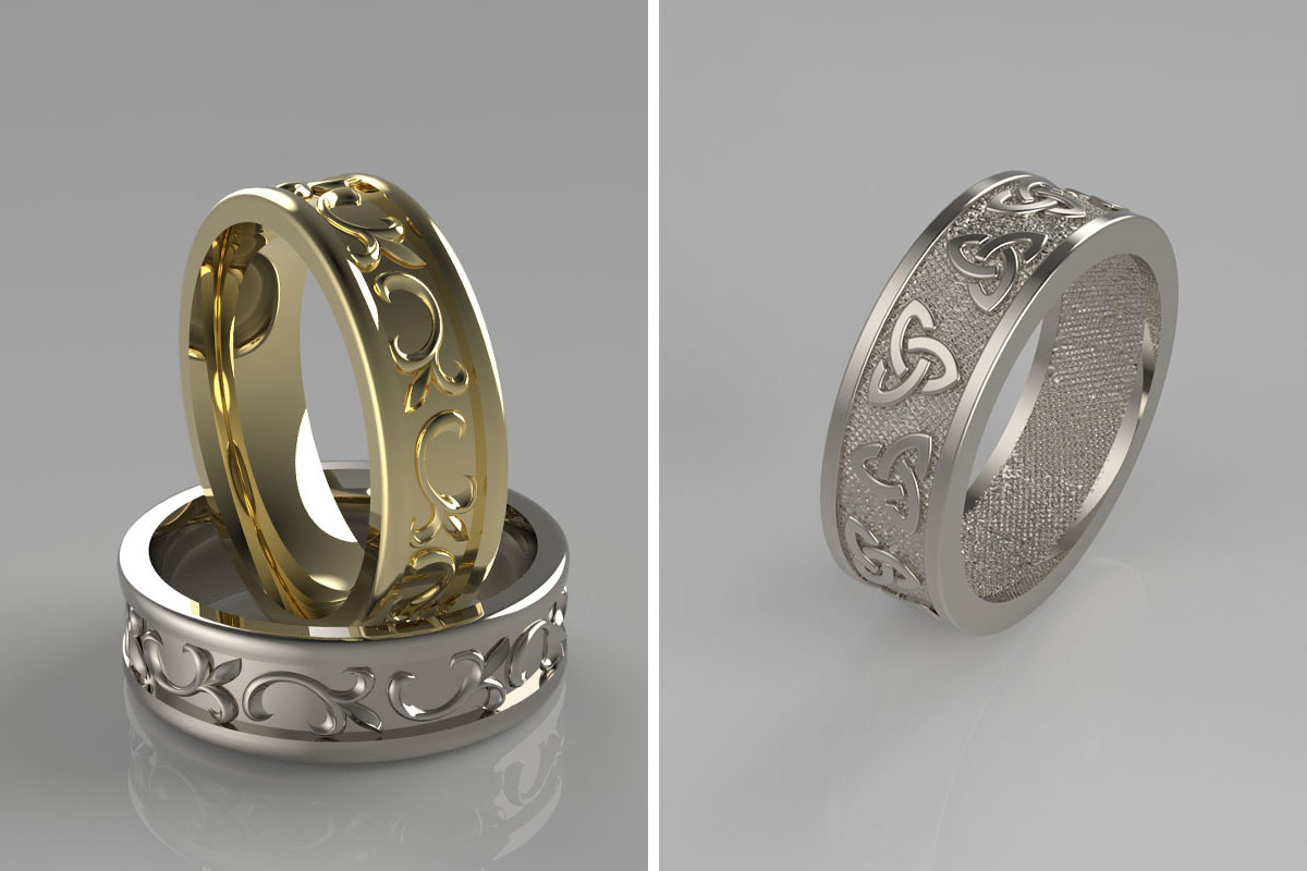 CAD impressions of three engraved wedding rings by Sandy Menzies Jewellery Design