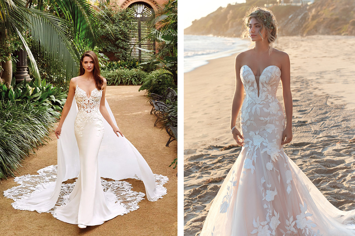 Enzoani gown by Opus Couture and Rebecca Ingram gown by Amy King Bridal and Beauty