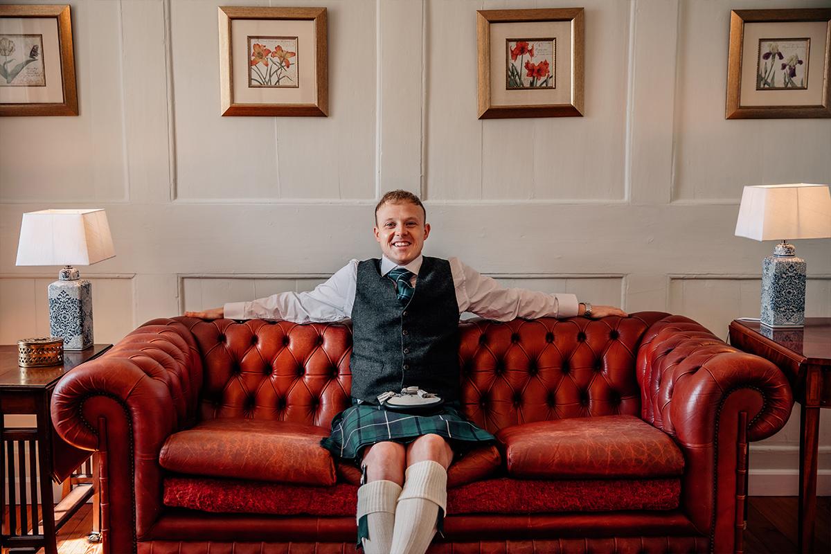 Model John lounges in Wedderlie House