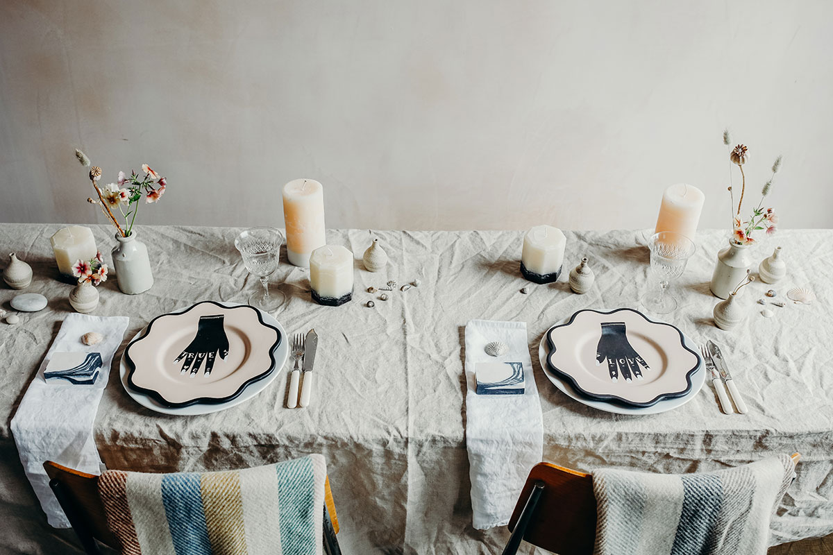 A tablescape featuring items availble via The Elopement Society