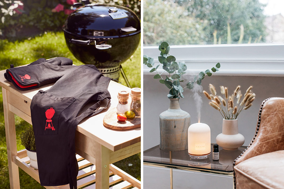 Left: a photo of a BBQ set up outside. Right: a wellness pod by Neom on a side table with vases and flowers