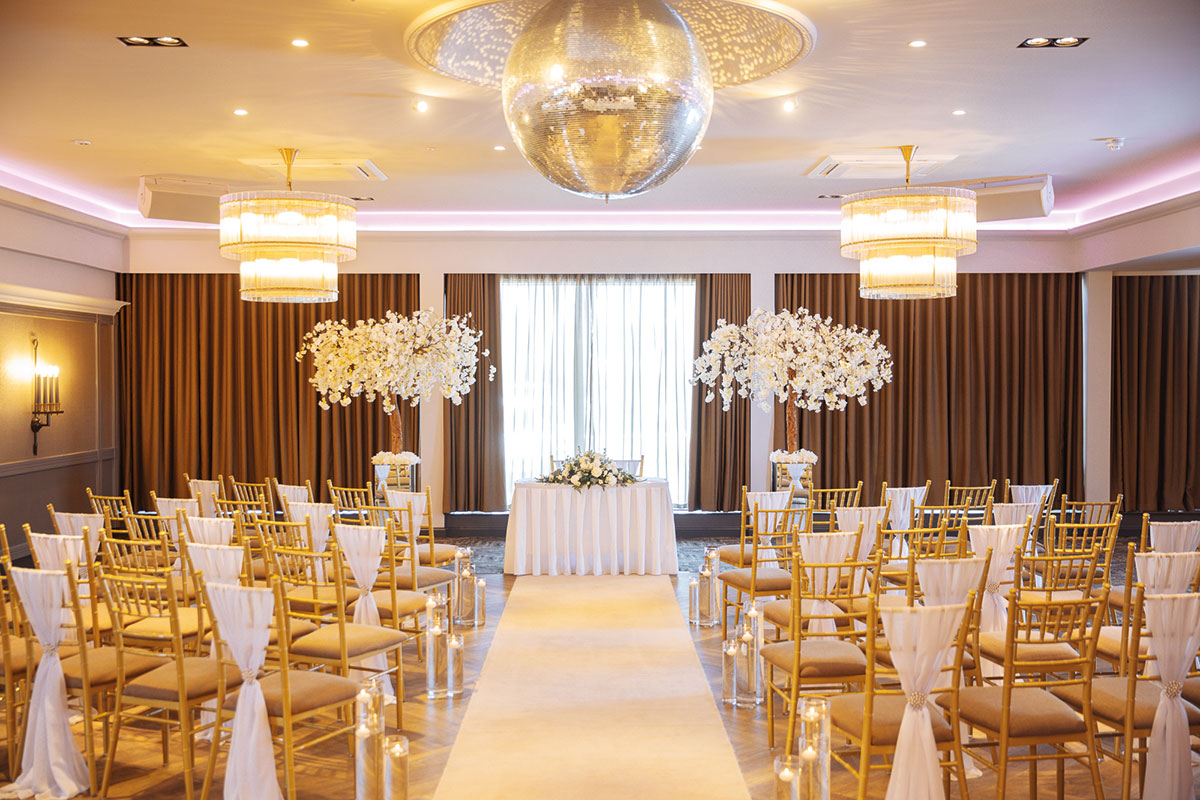 A reception set up in The Redhurst Hotel