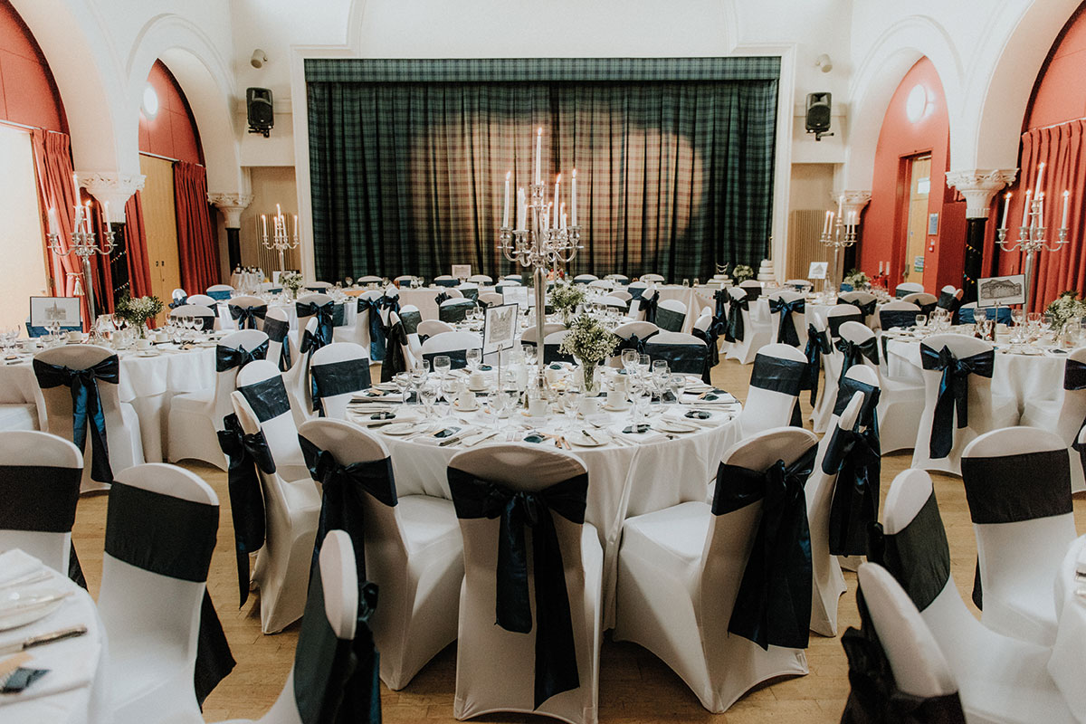 A reception set up in The National Piping Centre