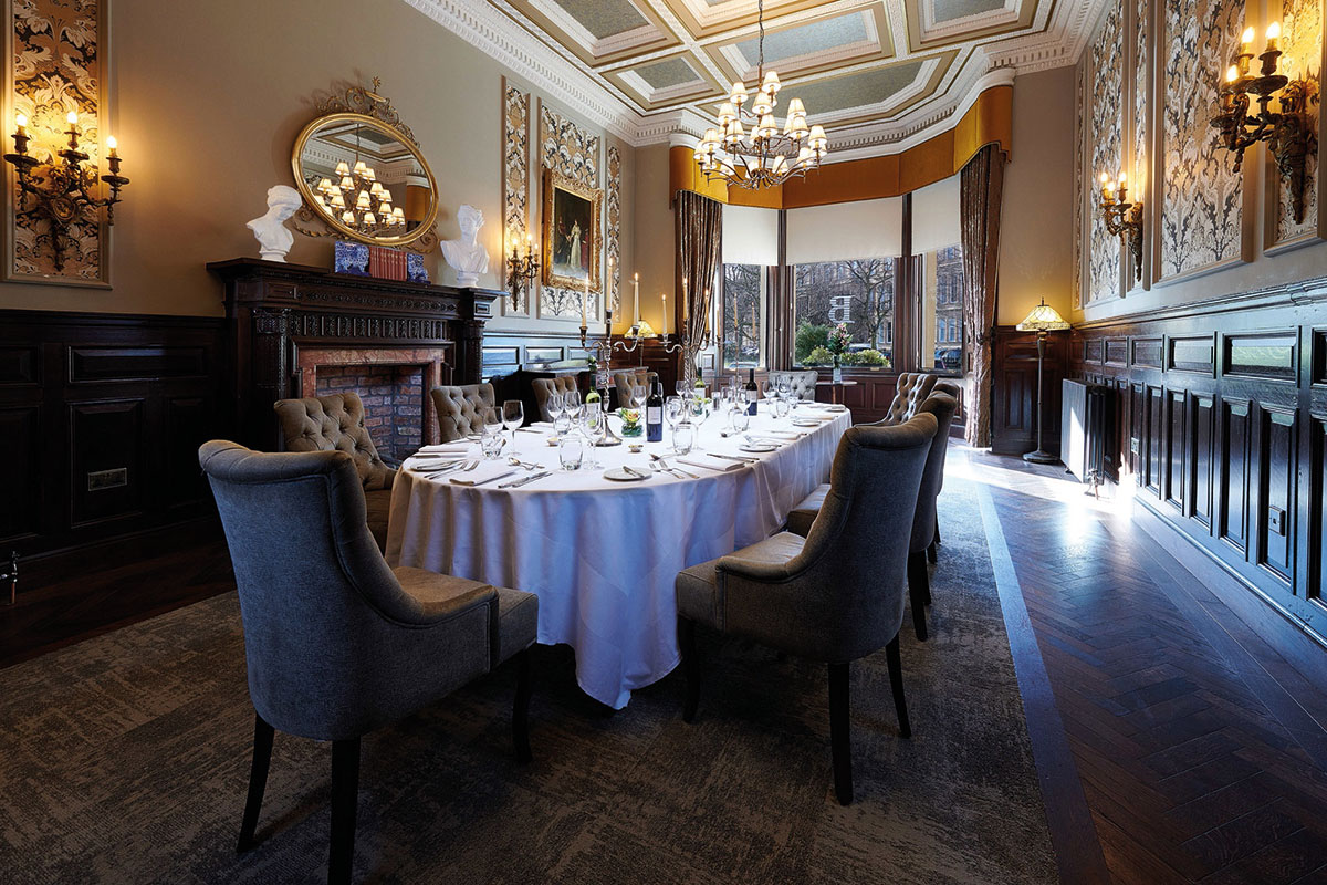 The Dean Suite in the Bonham Hotel set up for a reception meal