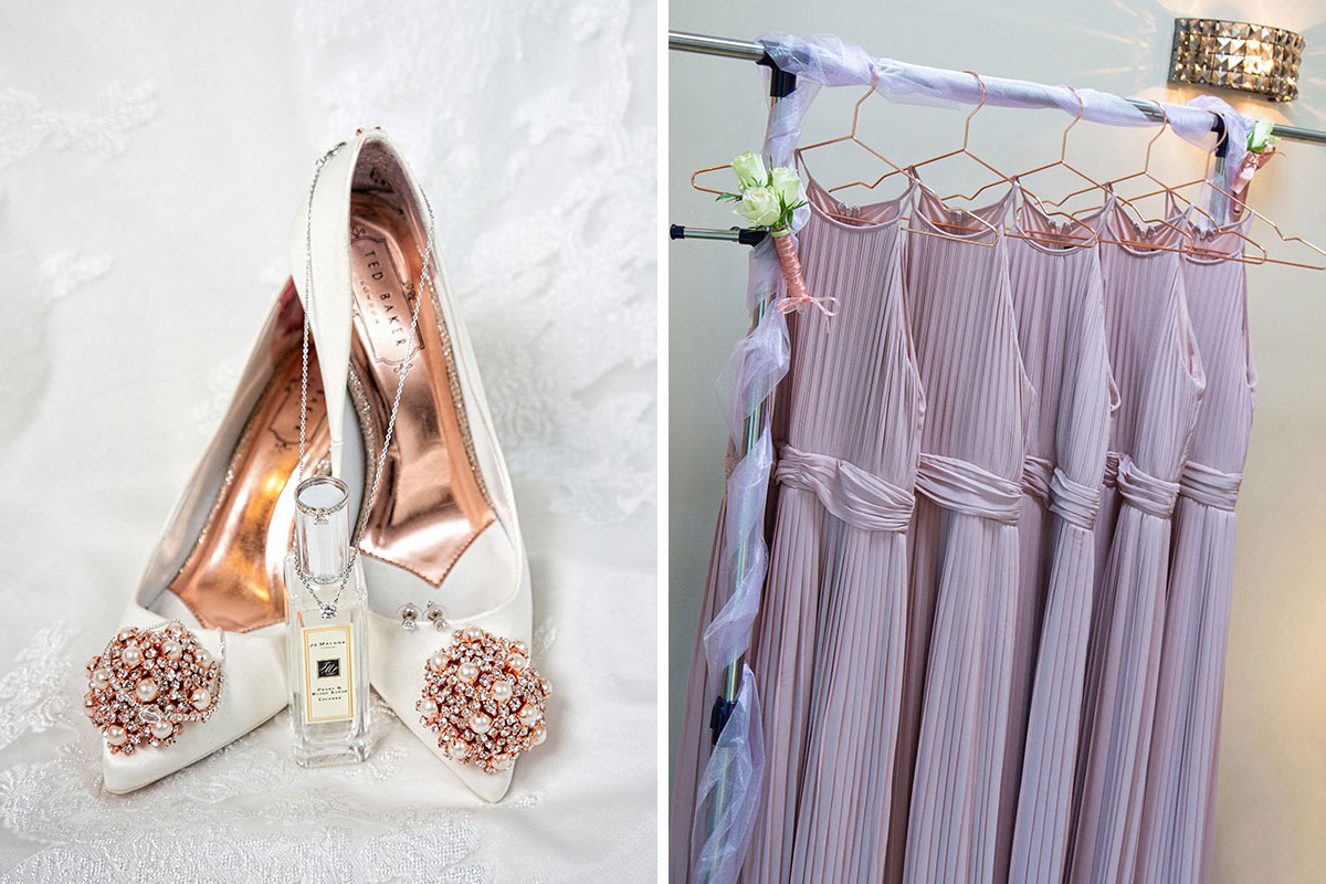 Ted Baker shoes, Jo Malone London perfume bottle and lilac bridesmaids dresses hanging on a rail