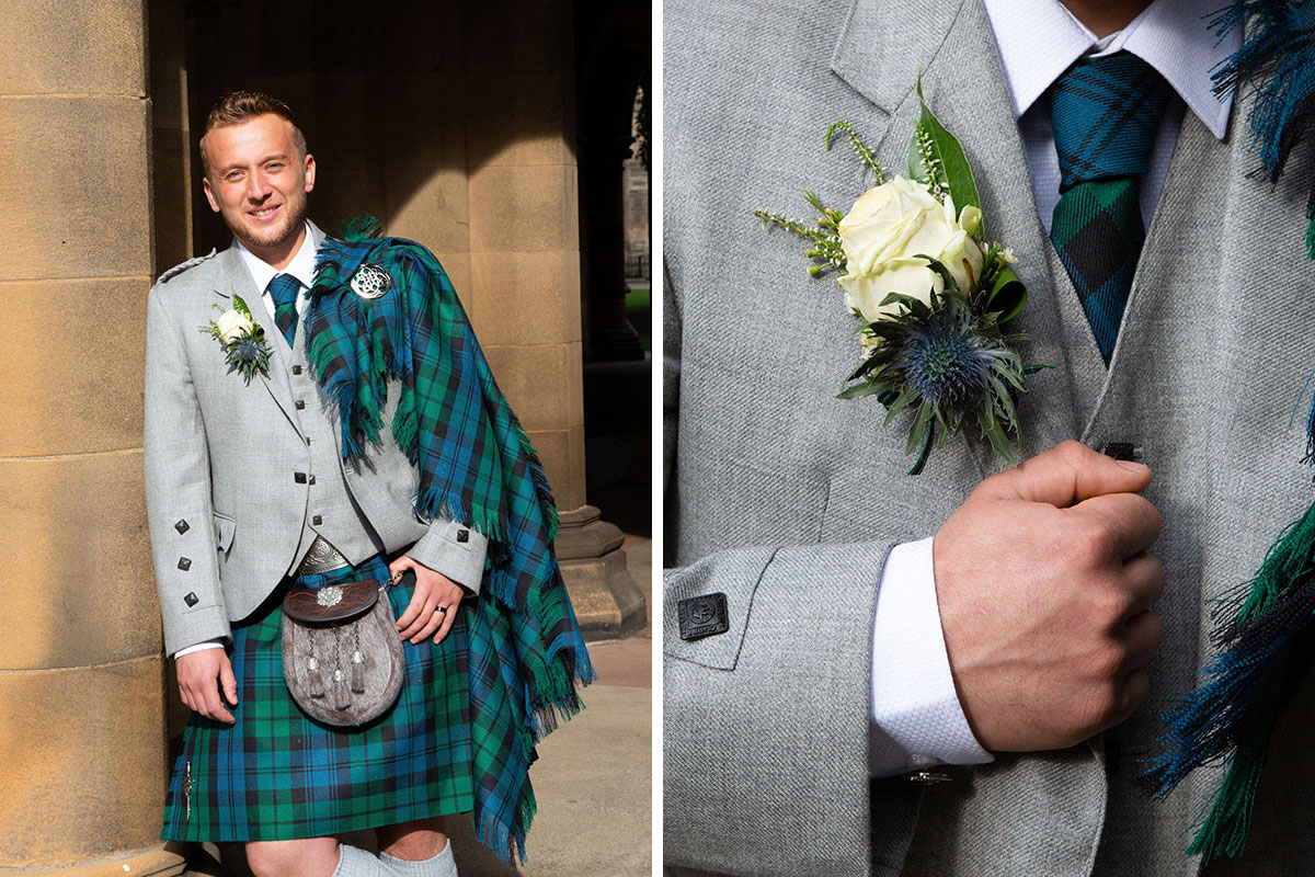 groom wearing green and blue tartan kilt outfit with grey jacket from A Crawford and Son