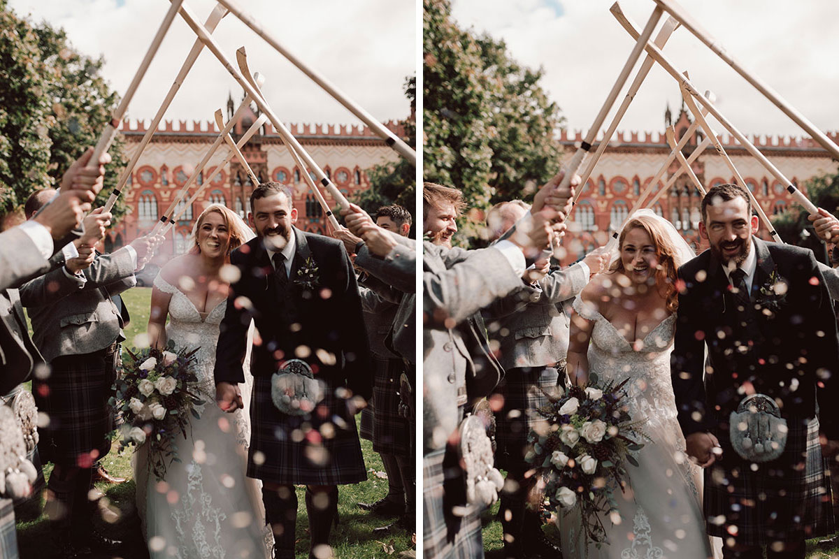 bride and groom guard of honour with hockey sticks outside Templeton Carpet Factory