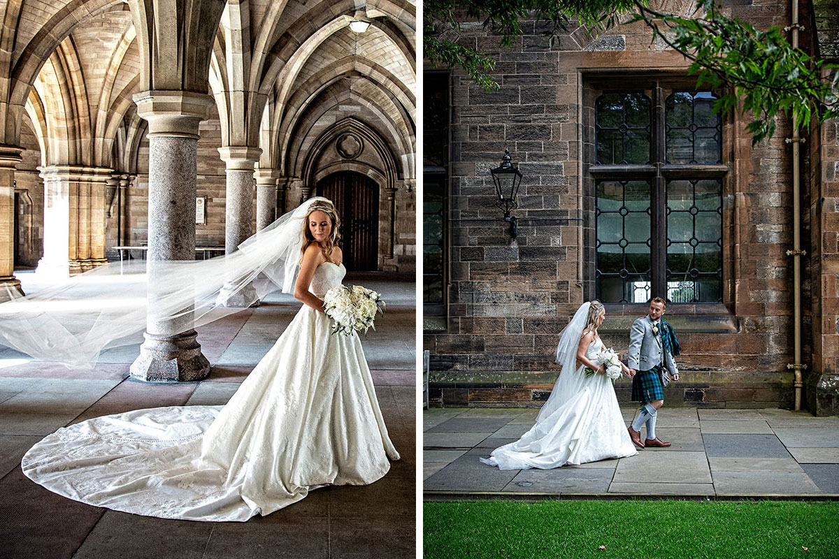 bride and groom posing and walking at Glasgow University