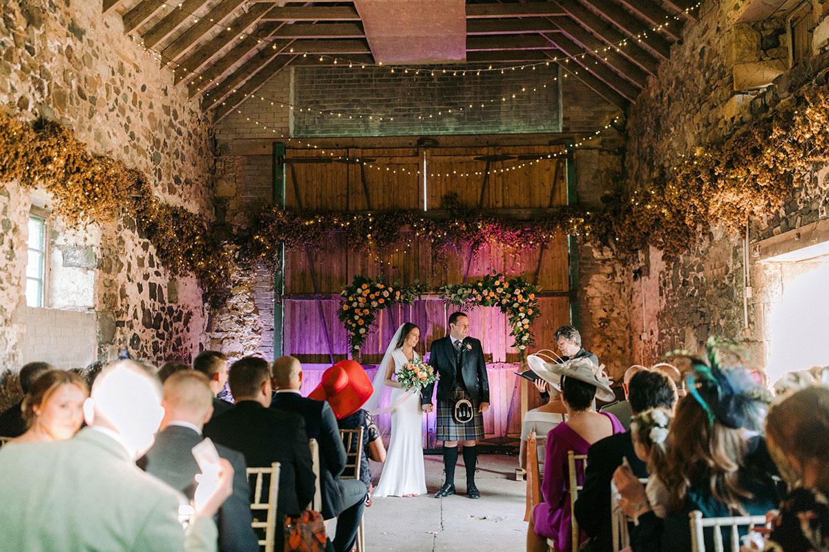 wedding ceremony at Pratis Barns