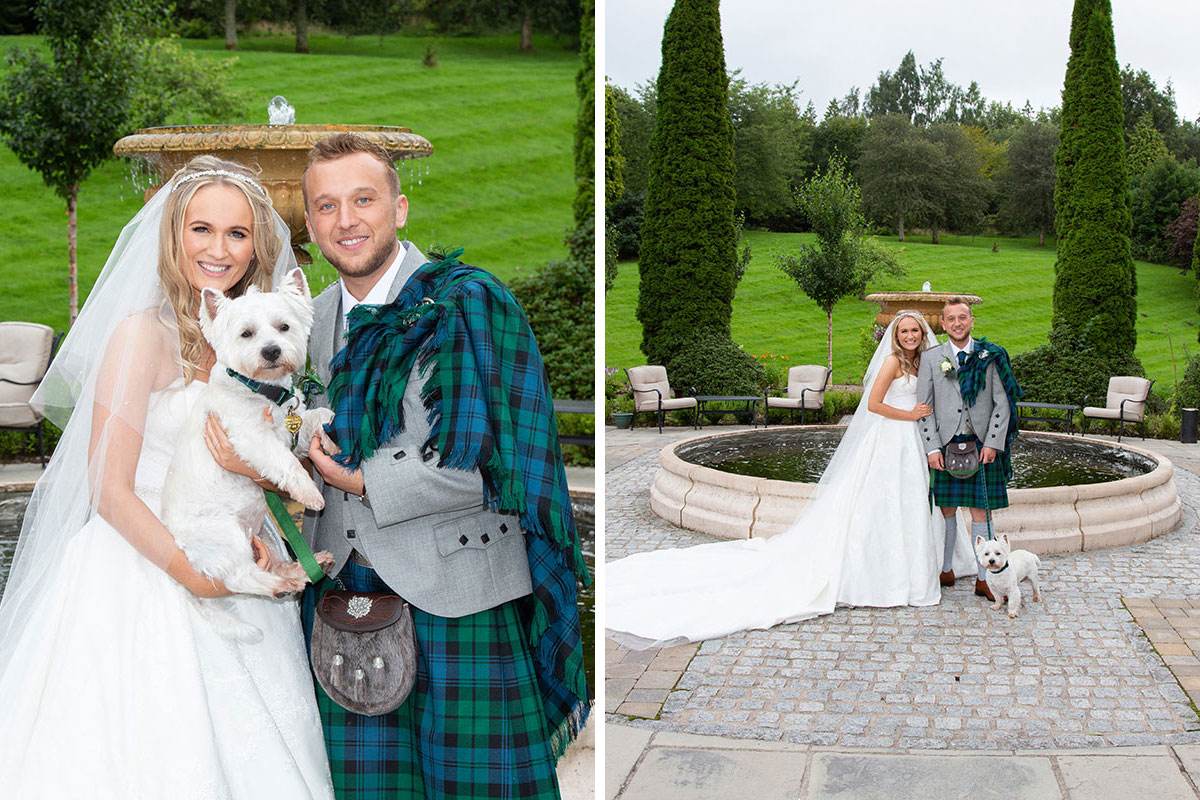 bride and groom standing in grounds of Crossbasket Castle with West Highland Terrier