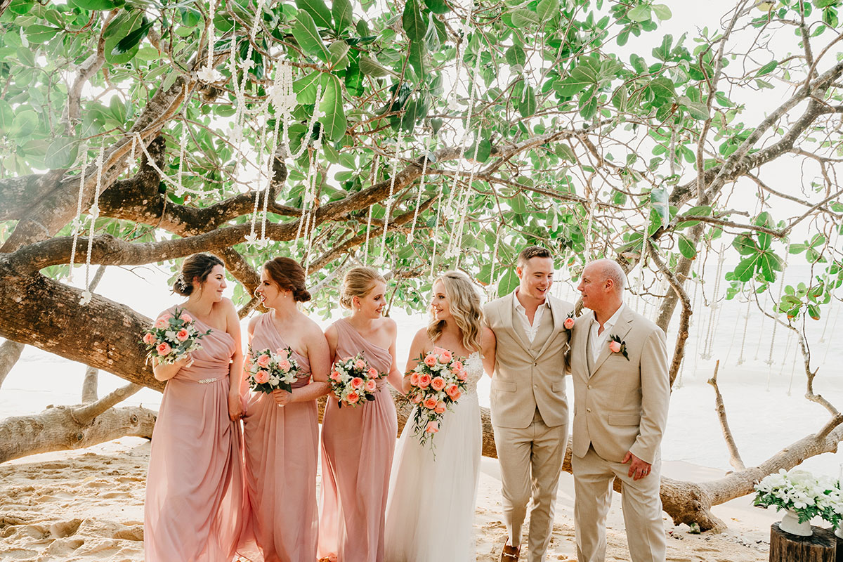 a group wedding portrait at The Sarojin in Khao Lak in Thailand