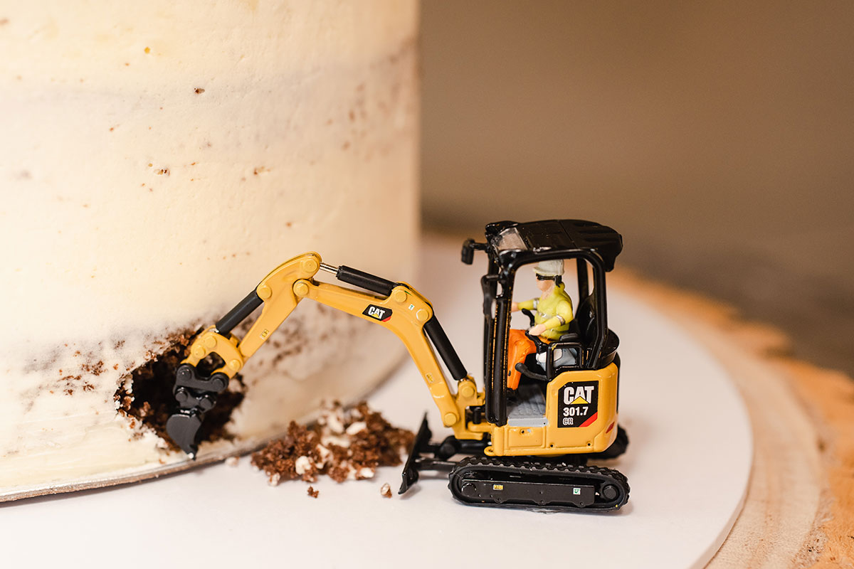 toy Cat digger with wedding cake