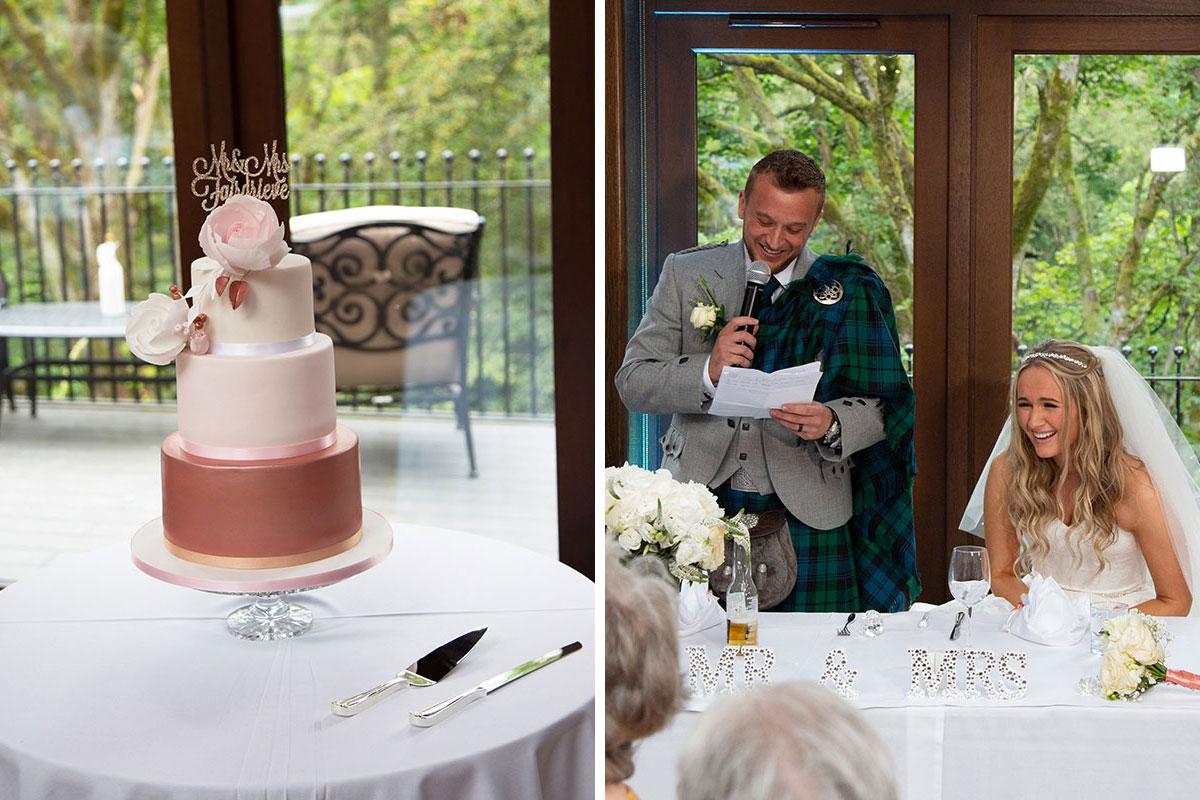 wedding cake and groom doing a wedding speech at Crossbasket Castle
