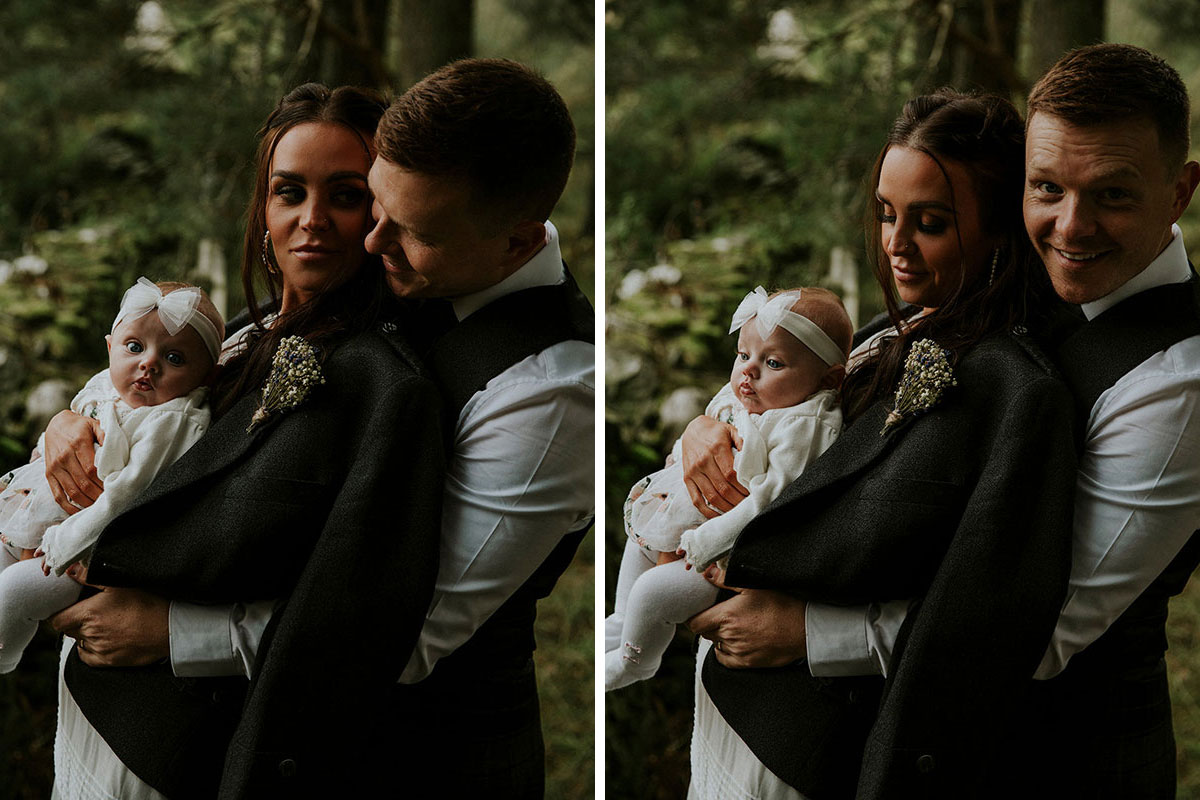 portrait of bride wearing leather jacket with groom and baby with bow on head