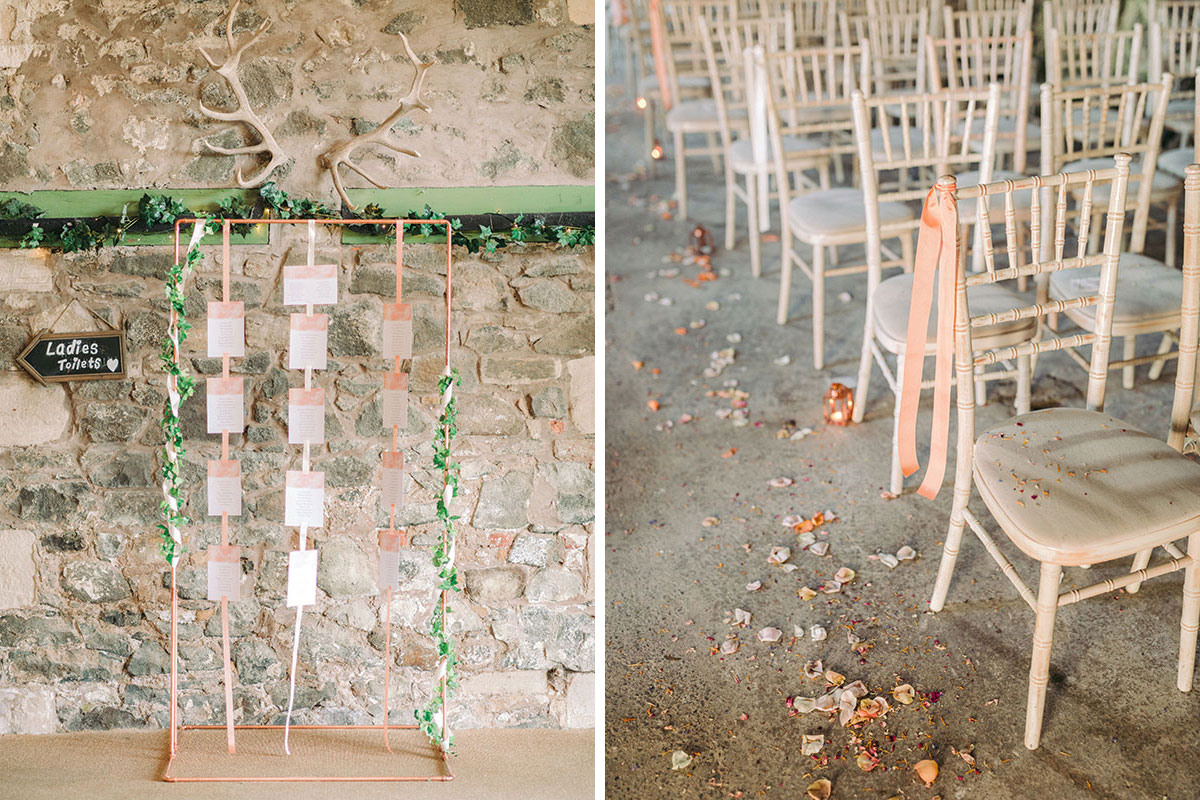 copper and ribbon wedding table plan and chiavari chairs decorated with coral ribbon on stone floor