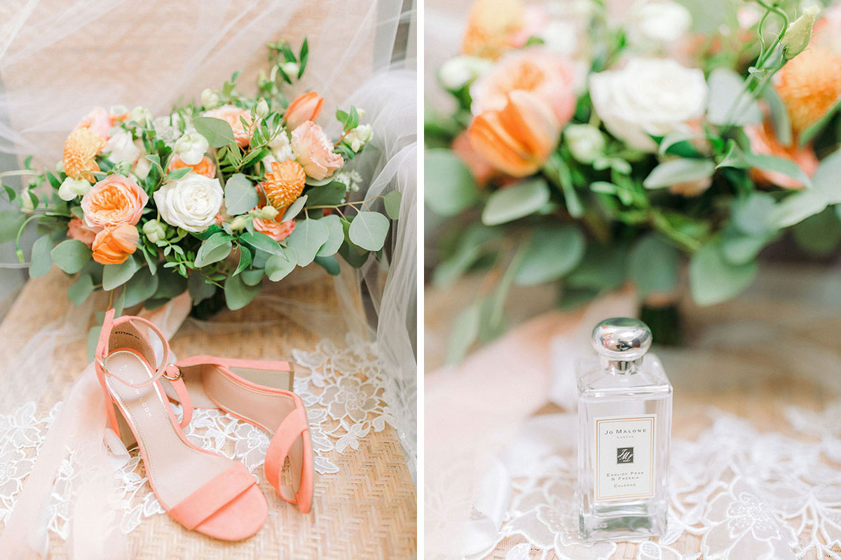 coral New Look wedding shoes and Jo Malone London English Pear and Freesia cologne with bouquet by Pretty Little Flowers