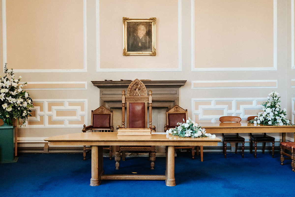 interior of the registry office in St Andrews