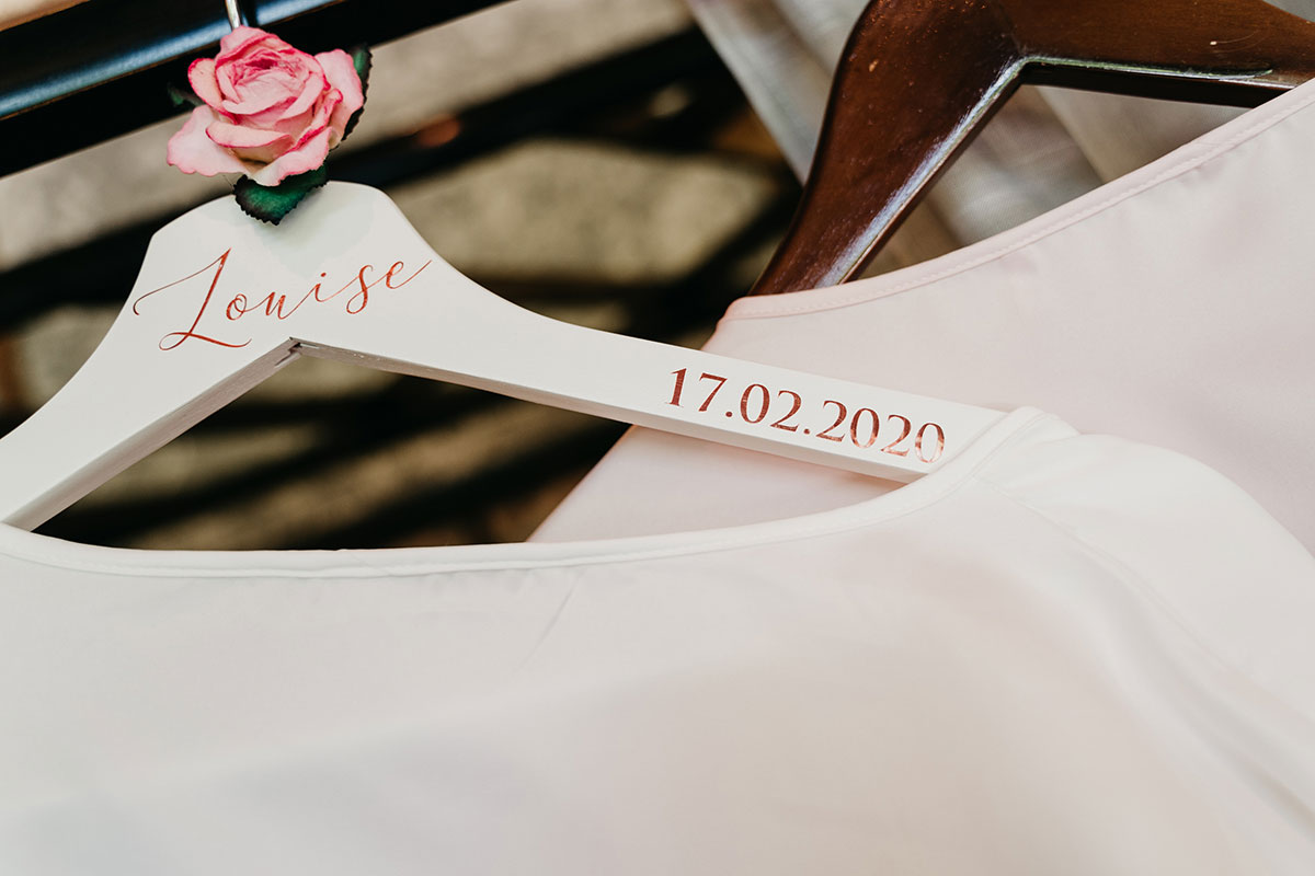 personalised bride wedding hanger with date and brides name