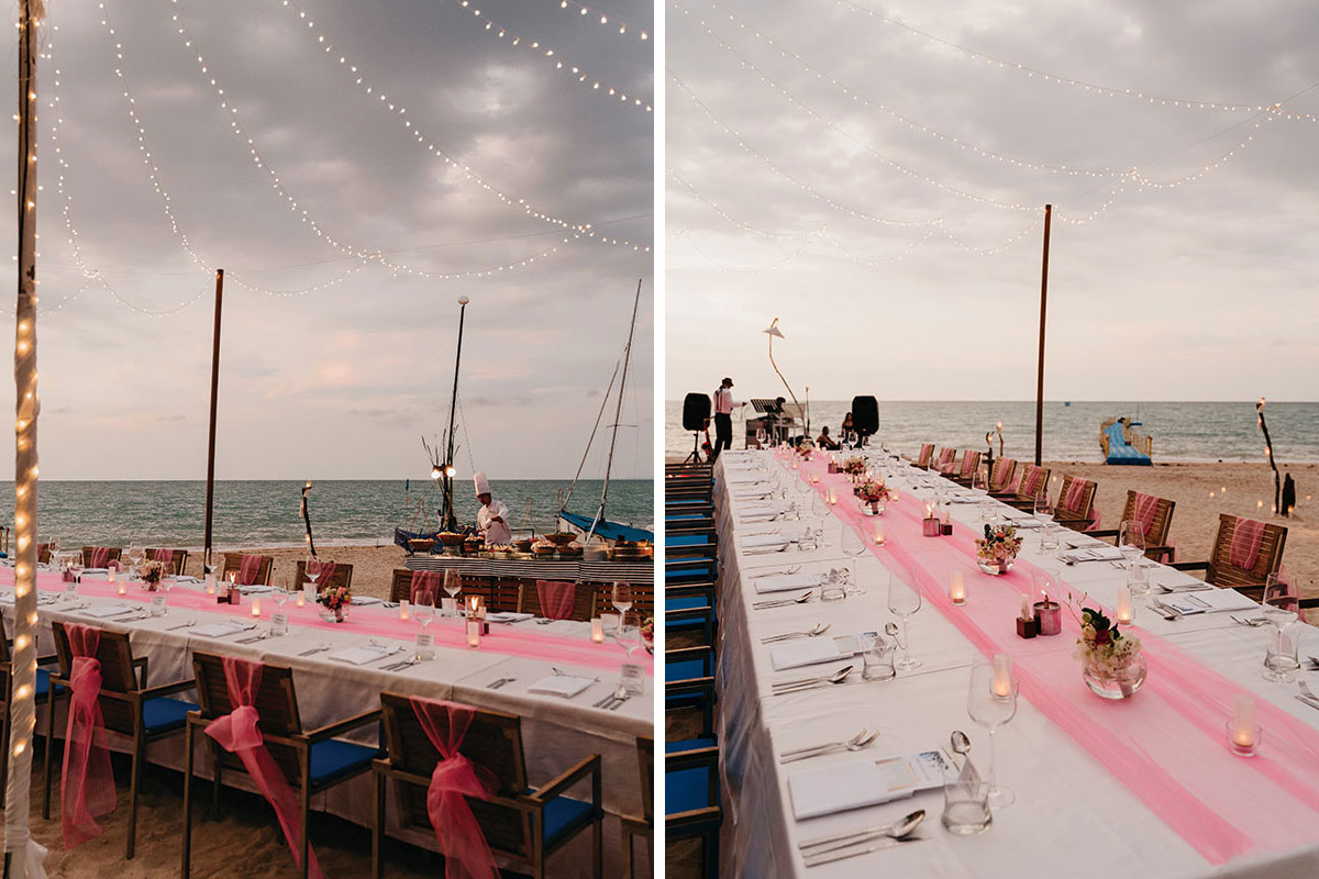 a wedding table on the beach at The Sarojin in Khao Lak in Thailand