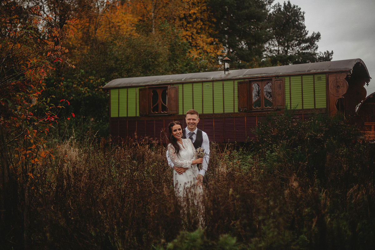 bride and groom hugging at Roulotte Retreat