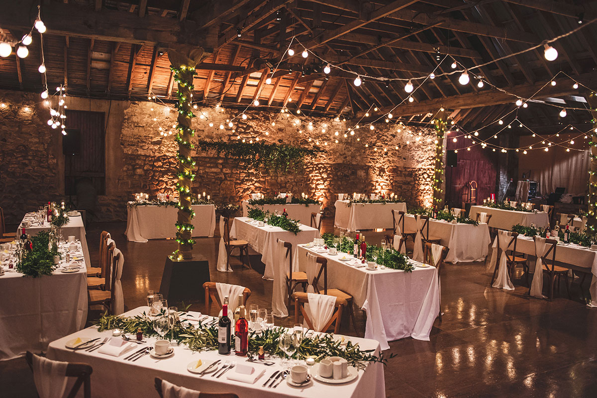 kinkell byre dressed for a wedding reception and dinner