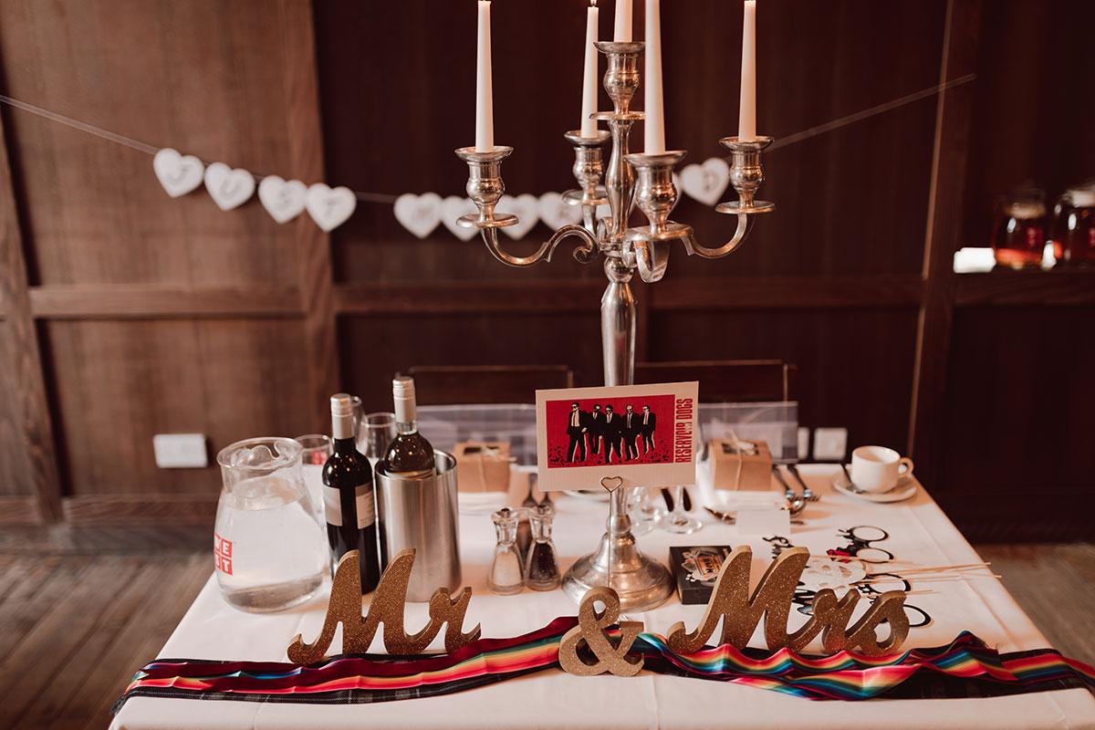 a table set with wedding paraphernalia