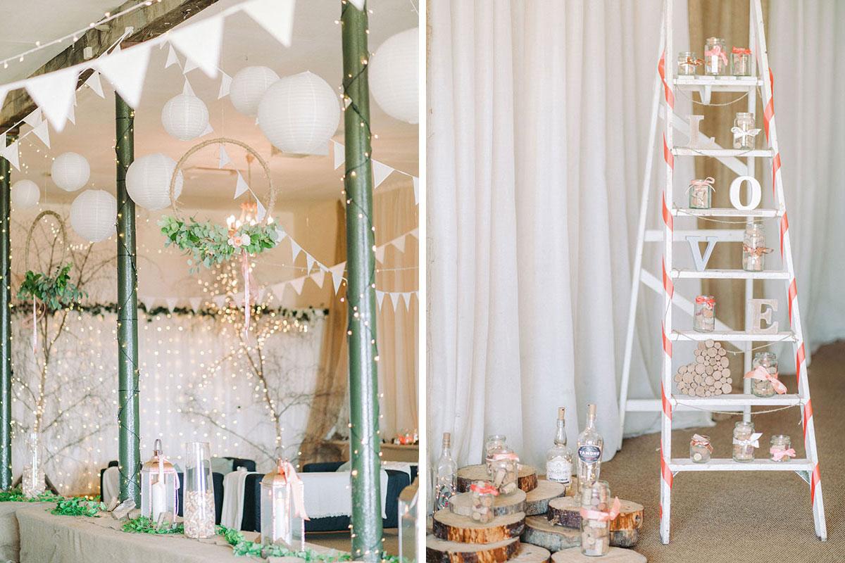 wedding decorations and ladder at Pratis Barns