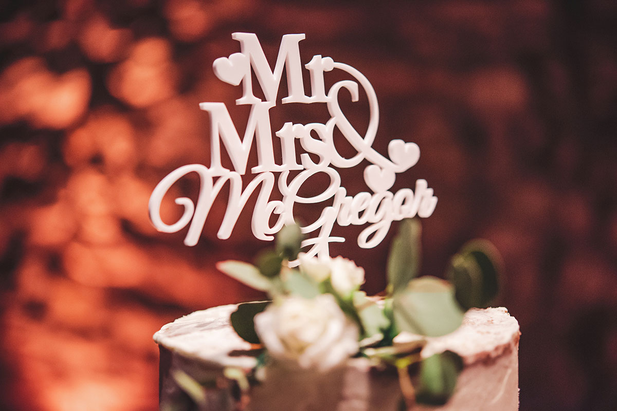 Mr and Mrs McGregor white laser cut cake topper