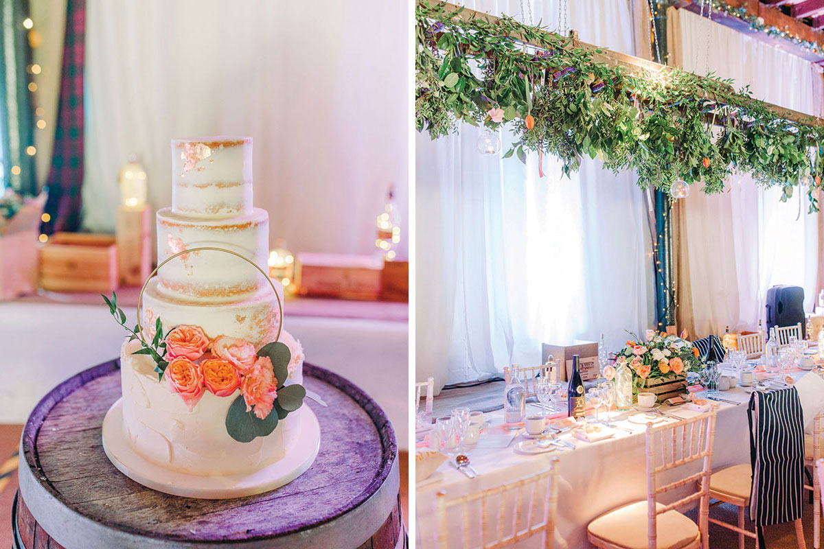 wedding cake by Liggy's Cake Company and Pratis Barns set for wedding dinner