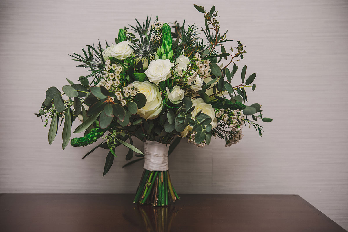 a white and green foliage bridal bouquet