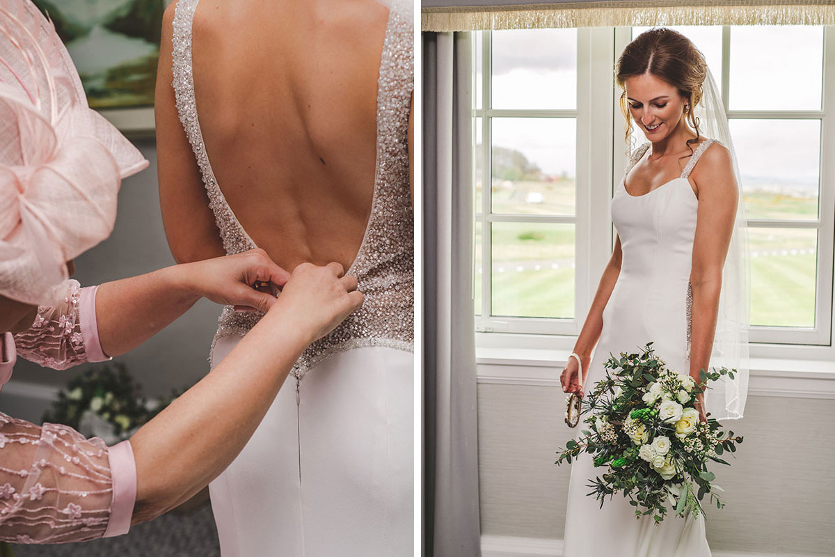 a lady wearing pink helping fasten the back of a bride's wedding dress and a bride smiling on her wedding day