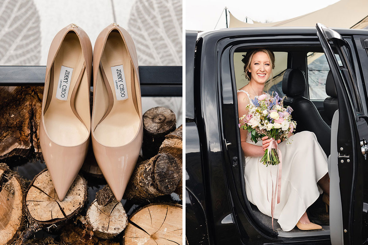bride smiling exiting a black pickup truck while wearing a pair of nude-coloured Jimmy Choos