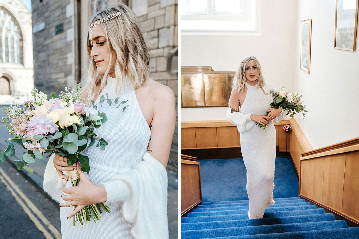 a bride arriving at the registry office in St Andrews