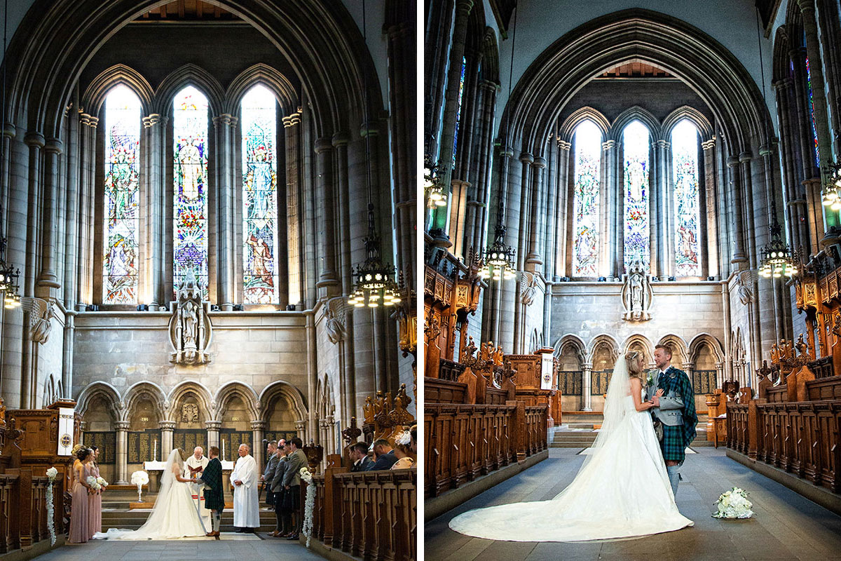 a wedding ceremony at University of Glasgow Memorial Chapel