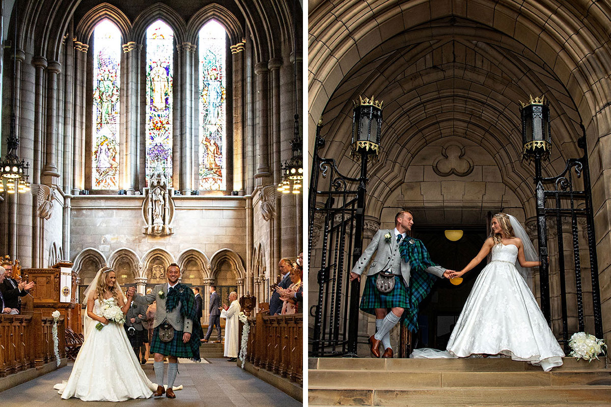 a bride and groom after a wedding ceremony at University of Glasgow Memorial Chapel