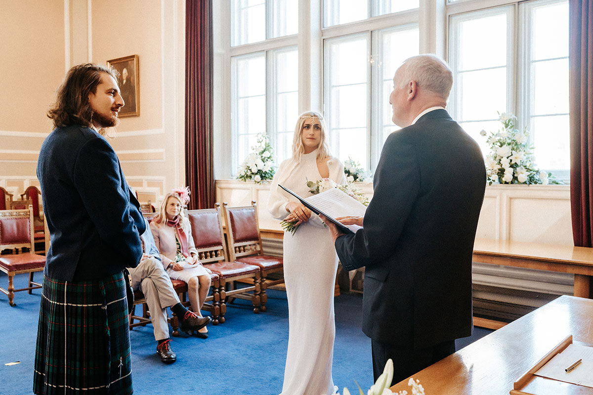 a wedding ceremony at the registry office at St Andrews