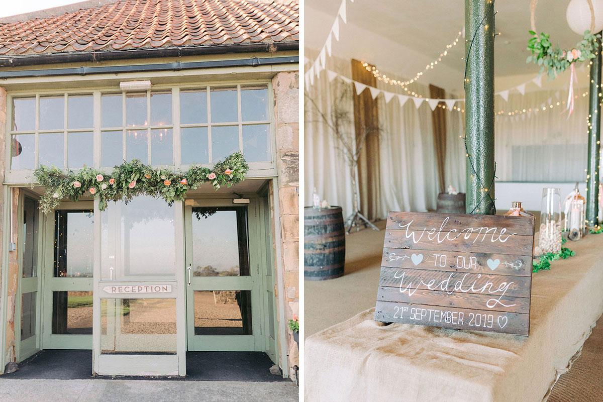 entrance and interior of Pratis Barns set for a wedding