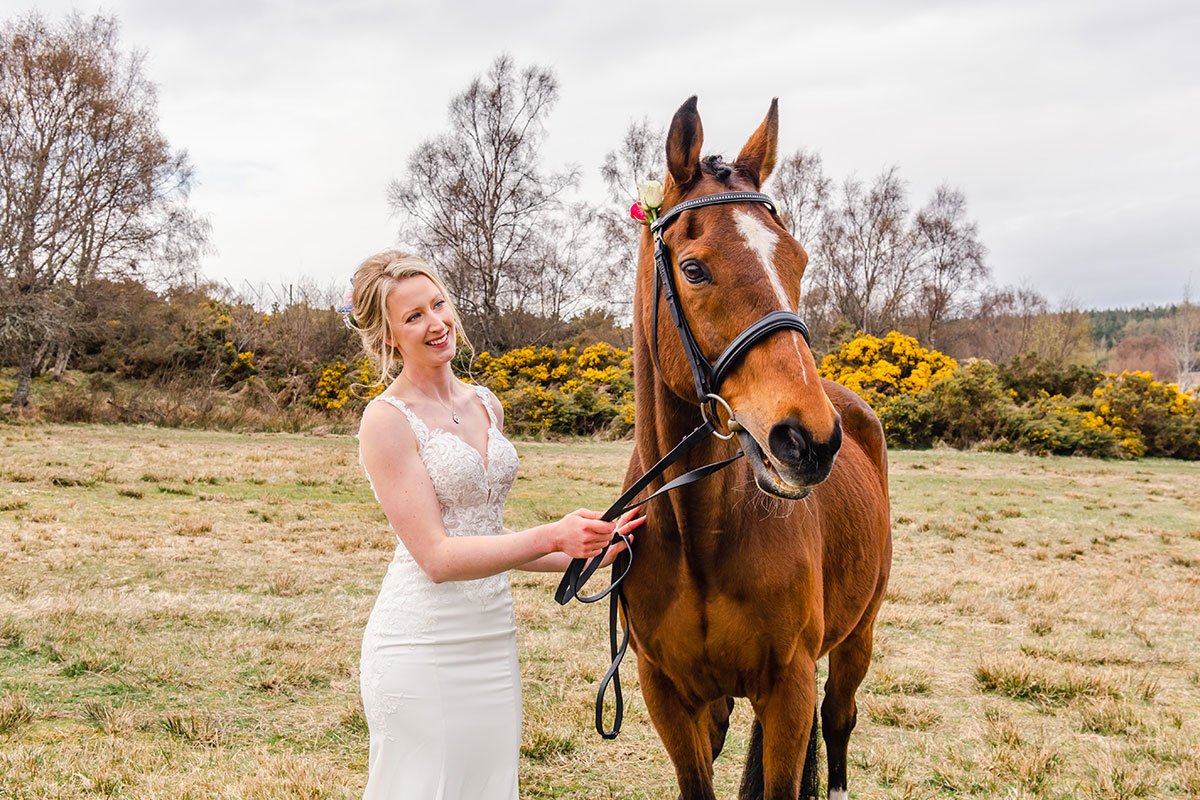 bride with brown horse on wedding day