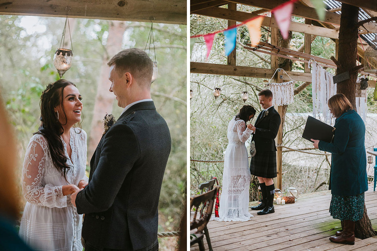 wedding ceremony at Roulotte Retreat