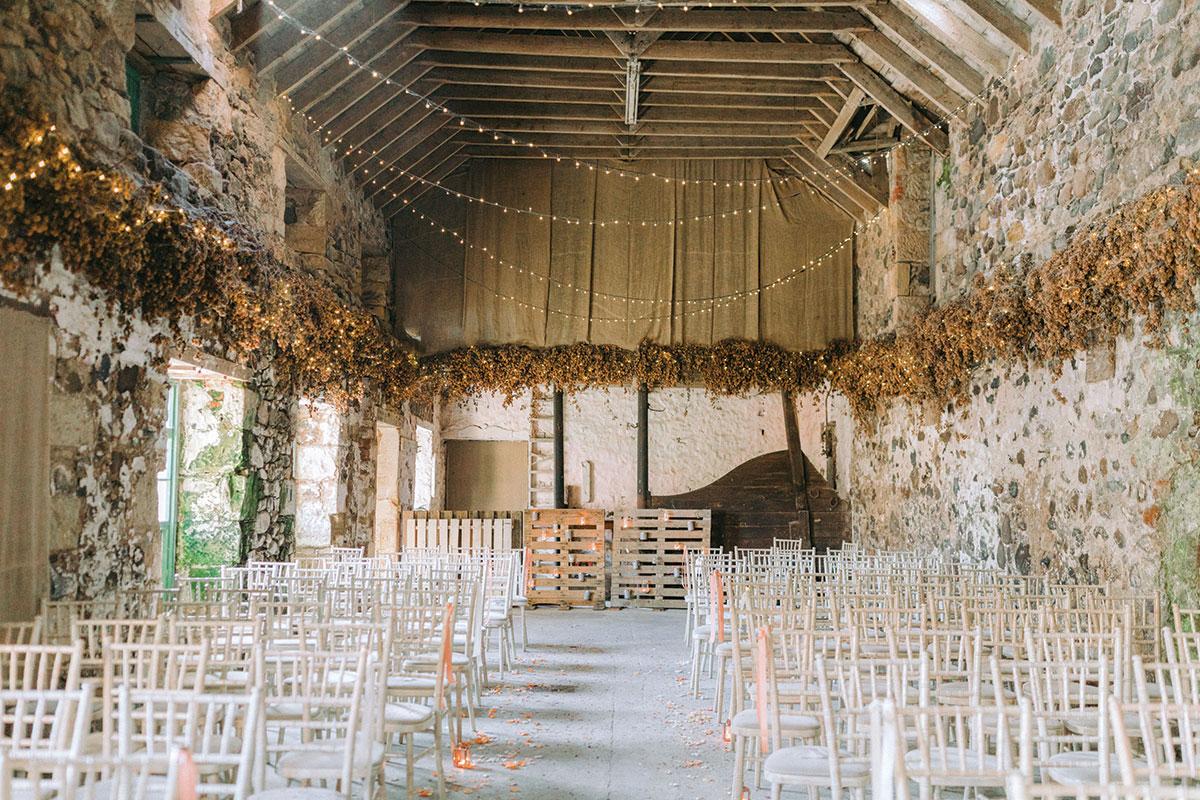 Pratis Barns set for a wedding ceremony