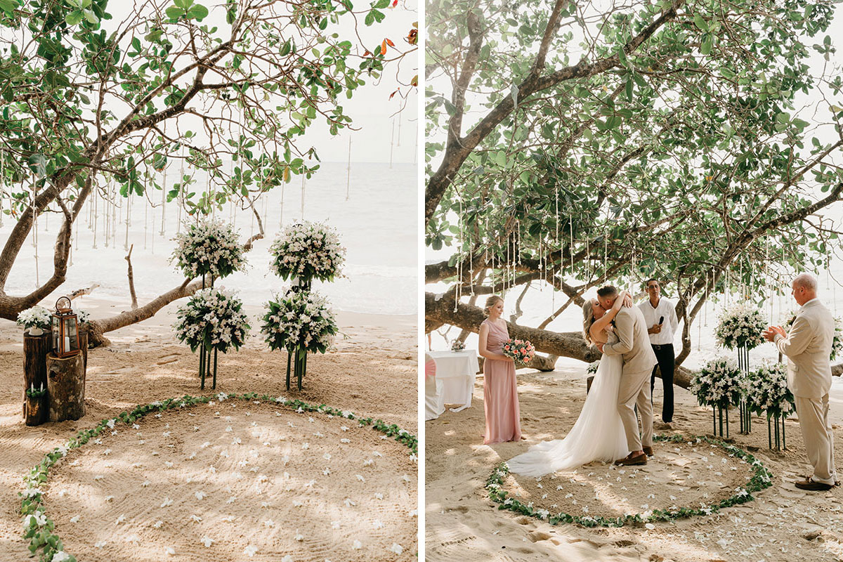 a wedding ceremony on the beach at The Sarojin in Khao Lak in Thailand