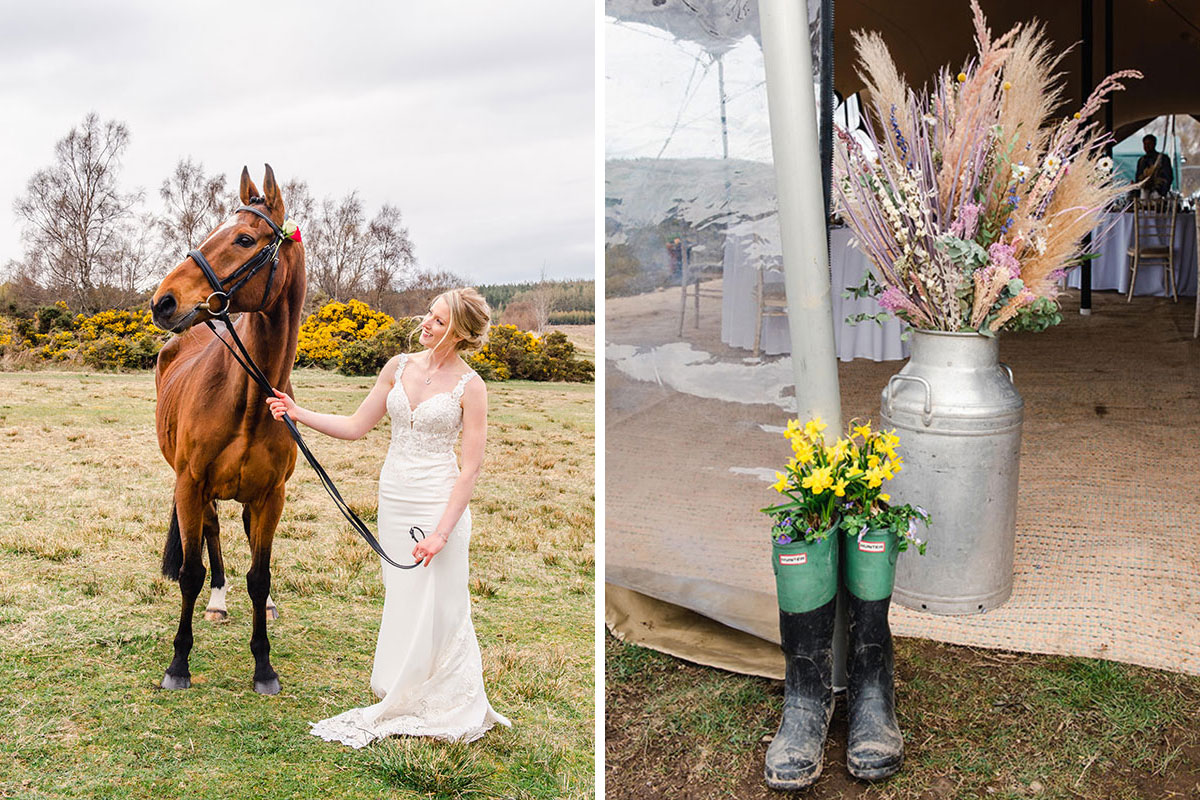 bride with horse and hunter wellies and silver milk urn used as floral arrangements