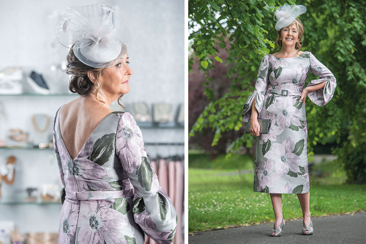 A lady wearing a lilac and silver jacquard dress from Serendipity in Kilmarnock