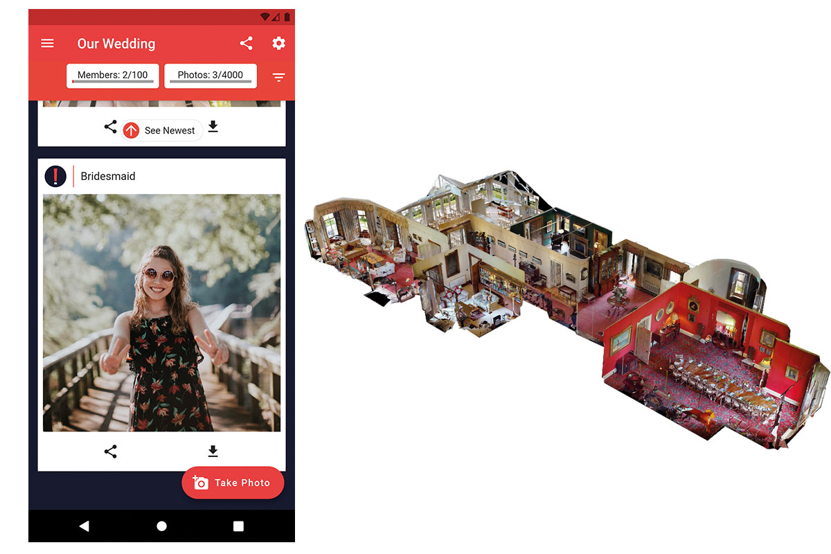 Big Album's photo album sharing app and Newhall Estate's virtual venue tour