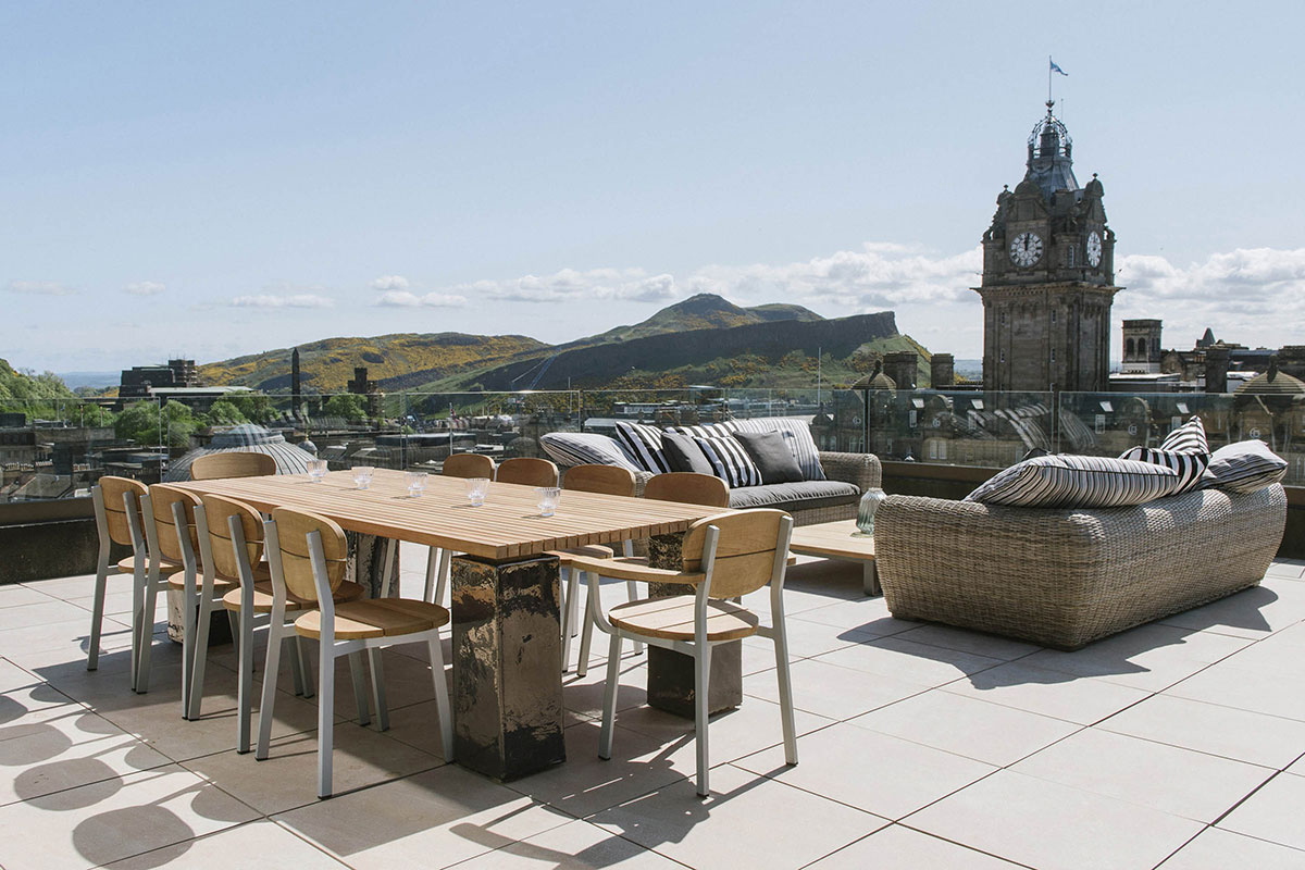 The roof terrace of the penthouse suite at Cheval the Edinburgh Grand