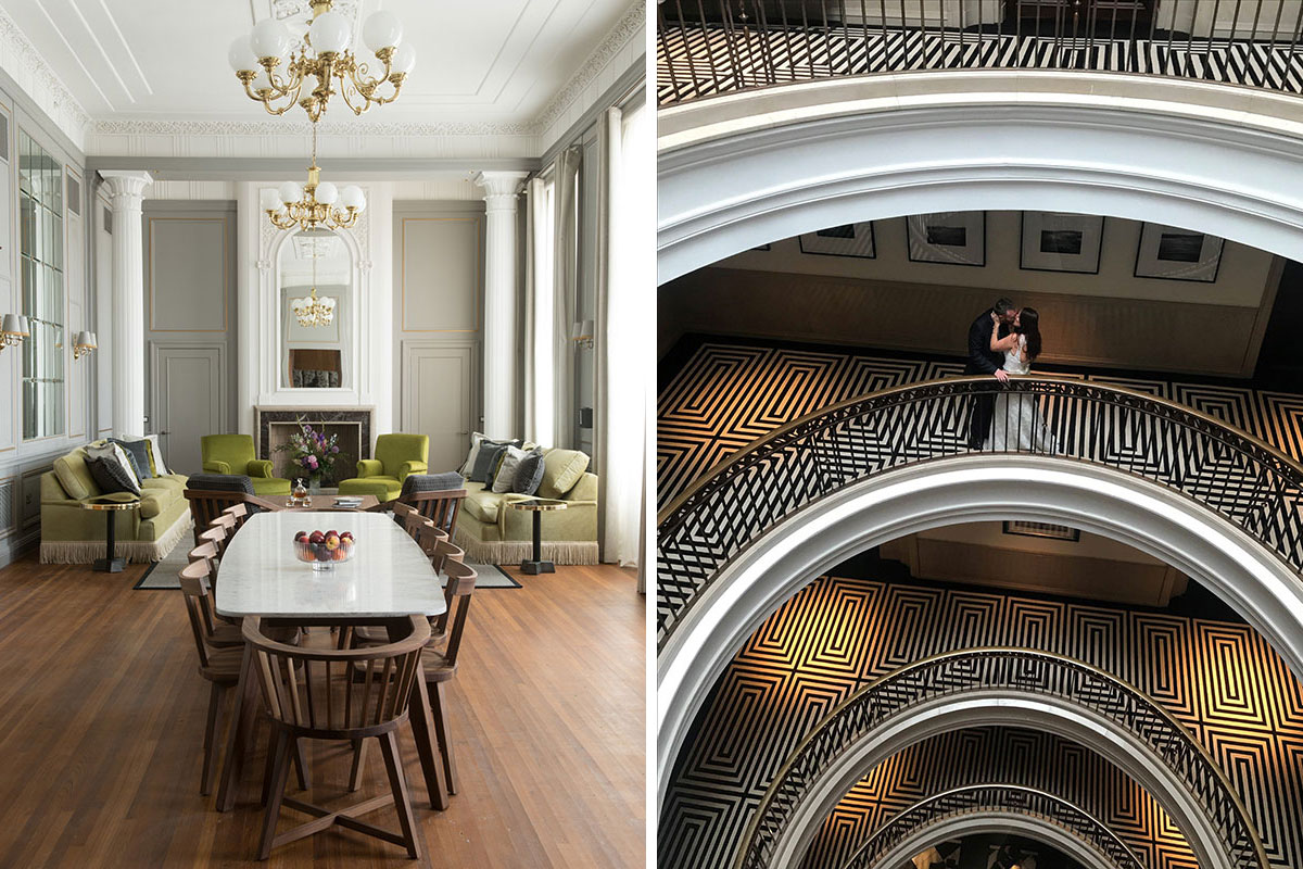 The Director's Suite and a married couple inside at Cheval the Edinburgh Grand