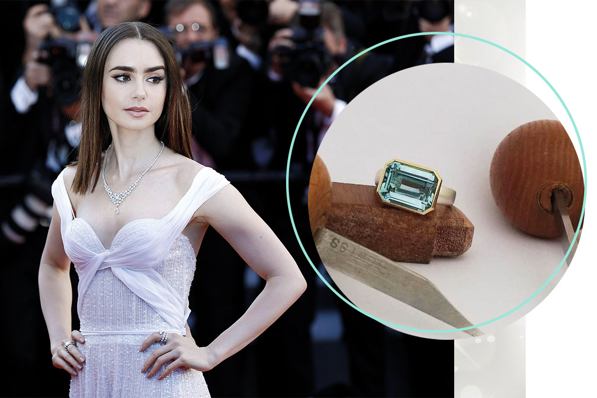 lily collins engagement ring