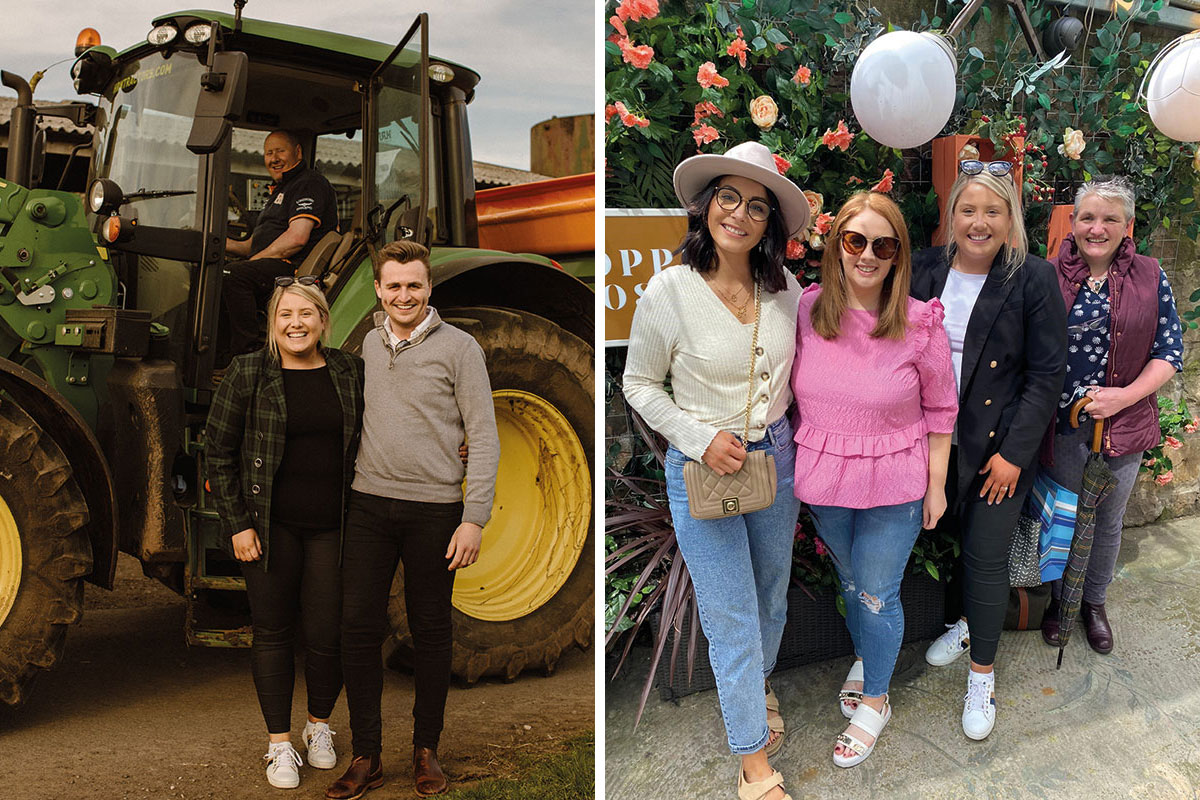May and Stuart standing with a tractor and a group of ladies posing against a floral wall