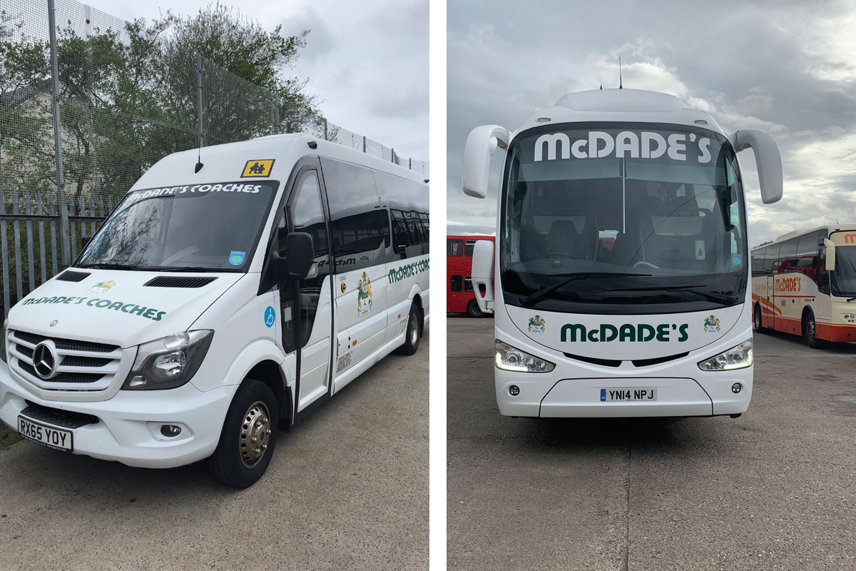 A midi van and a coach from Mcdade's