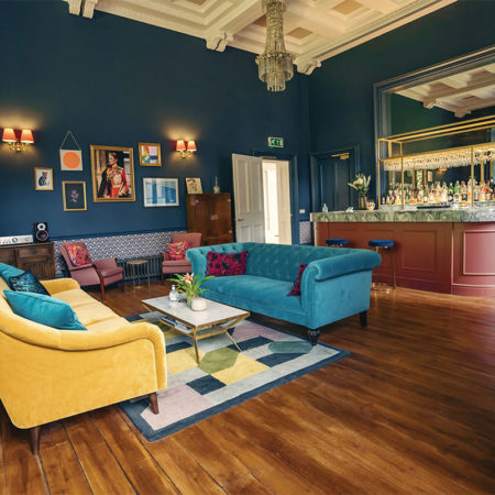 Colourful sofas in the bar at Netherbyres House in Eyemouth